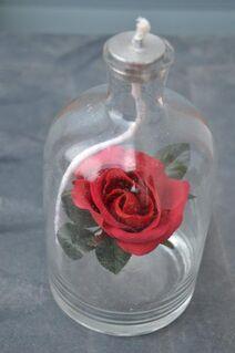 Glas Flasche Petroleum Lichtpetroleum Lampe mit Rose - Verden (Aller)