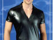 Herren Wetlook T-Shirt Männer Poloshirt Kurzarmshirt V-Shirt Hemd glänzend schwarz Gr. M 48/50 NEU - Sonneberg