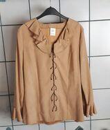 Bluse mit Trompetenärmeln, camel, Größe: 40/42