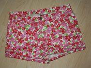 Kurze Mädchen Hose Kinder Bermuda Shorts kurz Hotpants Hot Pants Blumen Flower Sommerhose rosa/pink Gr. 152 - Sonneberg