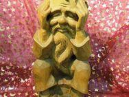 Handgeschnitze Holzfigur DER DENKER / Skulptur Denker Opa / Holz Figur 34 cm - Zeuthen