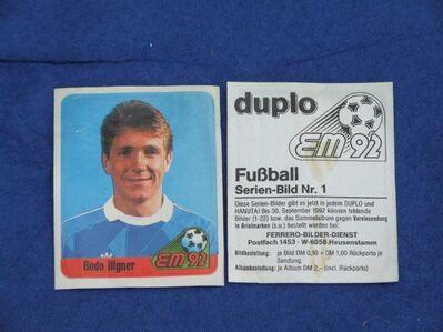 duplo Sammelbild  Nr. 1  Fußball - EM 92   Bodo Illgner - Gladbeck Zentrum