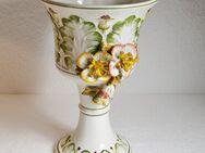 Keramik Pokal Kelch Amphore Prunk Vase Blumen floral 3D Este Porzellan Italien - Großhansdorf