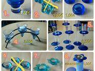 Teelichthalter, Kerzenhalter, Kerzenteller, blau + orange/gelb