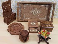 Holz DEKO 7-teilig Tablett Teller Box Antik orientalisch Konvolut - Kaufbeuren