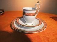 3tlg. Mokkagedeck FREIBERGER PORZELLAN / Mocca - Kaffeegedeck, Porzellan / NEU - Zeuthen