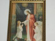 Altes Bild, Andenken heilige Kommunion, Jesus - Engel - Büdelsdorf