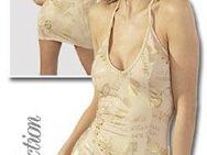 Damen Neckholder Kleid kurz Minikleid Nackenträger schulterfrei Partykleid Cocktailkleid beige/gold Gr. L 44/46 NEU - Sonneberg
