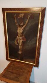 Ölgemälde Kirche Kapelle Andacht Kreuzigung Christi Altar 18 Jhdt. Antik Jesus Kruzifix Kreuz