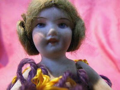 Antike Halfdoll / Puppe aus Porzellan mit Wollkörper / Jugendstil um 1910 - Zeuthen