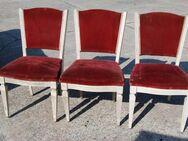 3 gepolsterte weiße Jugendstil Stühle / Holzstühle zu Aufarbeiten - Zeuthen