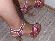 High-Heel-Sandaletten, rosa Kunststoff transparent, Gr. 40, gebraucht - Köln