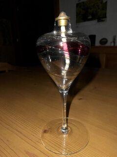 Öl-Lampe,mundgeblasenes Glas, Glashütte Eisch - Regensburg