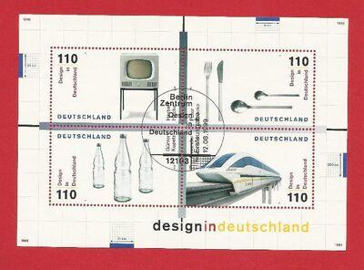 """Briefmarkenblock Design in Deutschland 1999 Stempel """"Erstausgabe"""" - Backnang"""