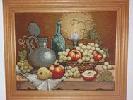 GOBELIN-Stickbild mit Echtholzrahmen (Eiche), Stillleben, sehr schöne Handarbeit