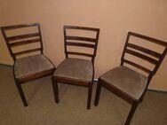 Drei elegante Stühle der 20er Jahre / gepolsterte Holzstühle mit Stoff bezogen - Zeuthen