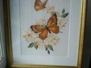Bild Schmetterlinge Stickbild Handarbeit Holz-Rahmen gold 44x50 cm Deko - Flensburg