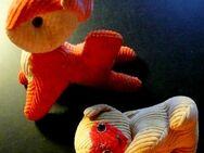 2 alte, seltene Tierfiguren mit Cordbezug - Niederfischbach