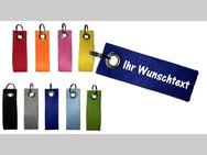 Filz Schlüsselanhänger individuell personalisiert mit Name / Wunschtext / beidseitig bedruckt - doppelt gelegt / 10 x 3 cm - Vöhl