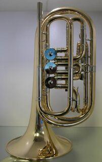 Melton Basstrompete in Bb, Mod. 129, Einzelanfertigung aus Goldmessing - Hagenburg