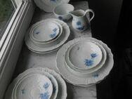Hutschenreuther Selb Porzellan Form Dresden blaue Blume Teller Milchgießer Zuckerschale Untertassen Vintage Retro - Flensburg