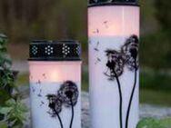 Trauerkerze LED Trauerlicht schwarz weiß mit Pusteblumen, Timer - Uslar