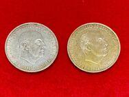 2 x Silbermünzen 100 PTAS Pesetas Peseten 1966 Spanien, jeweils 19 Gramm 800/1000 Feinsilber, - Mannheim