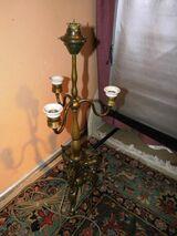 Antike Tischlampe aus Messing / Jugendstil Lampe mit Steinböcken um 1910