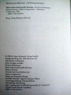 """""""Mein Glück macht große Sprünge"""" von Evelyne Kolnberger in sehr gutem Zustand, Franz Schneider Verlag, 343 Seiten, stammt aus 1993, ISBN: 3505047856, zum Schutz für weiteren Gebrauch schon eingebunden, 5,- € - Unterleinleiter"""