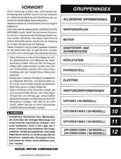 Wartungsanleitung (Werkstatthandbuch) SUZUKI UH 125 Vergaser in deutsch ! - Bochum