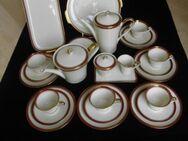 Zeh Scherzer Porzellan Kaffeeservice für 6 Personen +Teekanne + Kuchenteller+ Königskuchenplatte cremefarben Goldrand Vintage Retro 26 Teile zus. nur 49,- - Flensburg