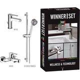 TOPANGEBOT SET: Waschtischarmatur mit Zugstangenablaufgarnitur, Badewannenarmatur und Duschgarnitur