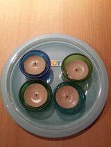 4 x Glas Teelichthalter mit Teller