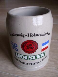Schleswig-Holsteinisches Sommerthing Holsten Bierkrug Bierseidel Bier Keramik Seidel Krug 4,- - Flensburg