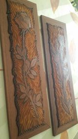 2 Bilder, Holz mit aufgebrachtem Dickleder, Linolschnit,Handarbei