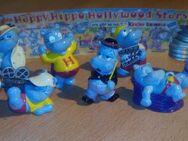 """4 x Ü-Eier """" Happy Hippos """" Fitness+Traumschiff+Company+Hollywood Stars Erscheinungsjahr1988 -1997 - Verden (Aller)"""