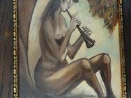 Ölgemälde von Karl Hans Gehring aus Duisburg. Sitzendes Mädchen mit Blasinstrument, signiert - Königsbach-Stein