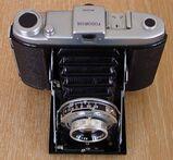 alte Wester Fodorsix Rollfilmkamera 6x6 Fotoapparat Klappkamera mit Ledertasche