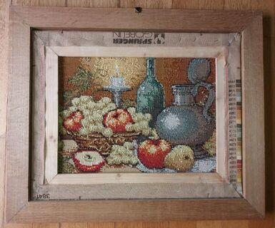 GOBELIN-Stickbild mit Echtholzrahmen (Eiche), Stillleben, sehr schöne Handarbeit - Scherstetten