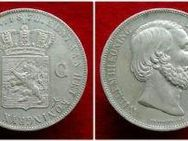 2 1/2 Gulden 1870 Niederlande,WILLEM III.  König der Niederlande,945er Silber,Lot 865 - Reinheim