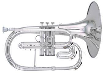Orig. Kanstul Mellophon in F. Neuware. Made in U.S.A., versilbert, inkl. Koffer - Hagenburg