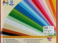 Farbkartonblock / Fotokarton - 270g / m² , 24 x 34cm , 25 Blatt , 25 Farben - Groß Gerau