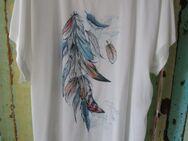 Damen T-Shirt mit Federnaufdruck und echte Stofffedern (Gr.3XL) Weiß - Weichs