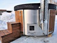 6-8 Personen Hot Tub aus GfK mit integriertem Holzofen und Whirlpool Badefass Badebottich Badetonne Badezuber - Ennigerloh
