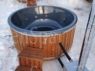 6-8 Personen Hot Tub aus GfK mit Außenofen und Whirlpool Badefass Badebottich Badetonne Badezuber - Ennigerloh