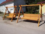 Gartenschaukel 3 Sitzer fertig lasiert Fichte massiv