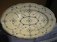 Große antike Vorlegeplatte / Fleischplatte 1930 / ovaler Teller Zwiebelmuster
