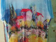 T-Shirt mit Rückenausschnitt und bunter Spitze (Gr. XXL) Haus Landschaft - Weichs