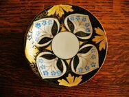 Oepiag-Porzellan-Mokka-Service-2 Teile-Tasse und Untertasse,Weiß,Gold,Bunt,sehr alt,1873-1918 - Linnich