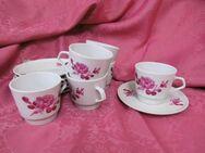 Weisswasser Porzellan Kaffeegeschirr Pinke Rose / 6 Tassen + 6 Untertassen / DDR - Zeuthen